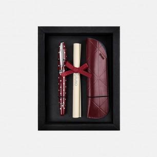 安迪酒红圆点签字笔礼盒 | 高品质钢笔+笔套套装