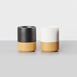 简约创意对杯 陶瓷杯/木杯 | 玄黑+素白 极简美学设计