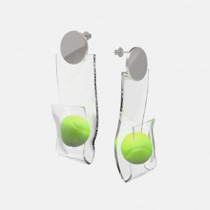个性风网球耳环/耳坠 单只 | 造型大胆个性 925银镀白金