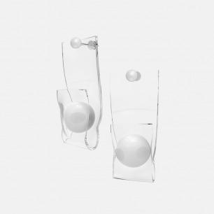 个性风白球珍珠耳环 单只 | 造型大胆个性 925银镀白金