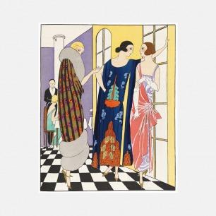 法国家居装饰画 宴会私语  | 描绘追求摩登生活的女郎