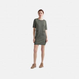 灰绿短袖连衣裙 车轮绣线款 | 宽松舒适 内搭外穿都可以