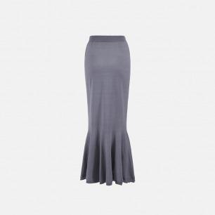 灰色鱼尾长裙