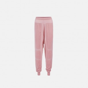 粉色针织肌理长裤