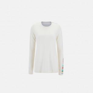 单袖色块白色羊绒衫