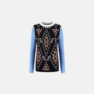 非洲图案蓝袖子毛衣