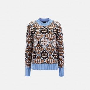 米色非洲图案毛衣