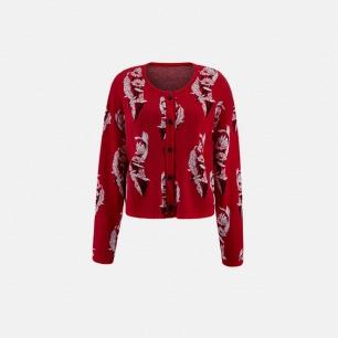 红色套装针织提花开衫