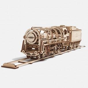 乌克兰木质机械传动模型   蒸汽机车 无需胶水