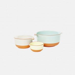 三色釉彩沙拉碗 三件套 | 表面瓷化复古 光滑防裂防水