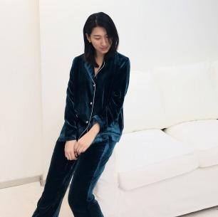 【定制周期:7天】滋润皮肤质感 真丝丝绒绑带睡衣套装(三色可选)