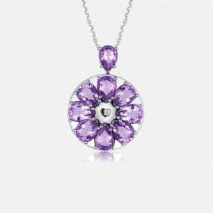 紫水晶吊坠项链 绽放系列   智能珠宝 用首饰传递心意