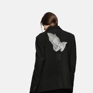 原创丢勒祈祷的手银线刺绣全羊毛 oversize西装