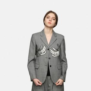 原创女士灰色丢勒手的镜像刺绣羊毛西装