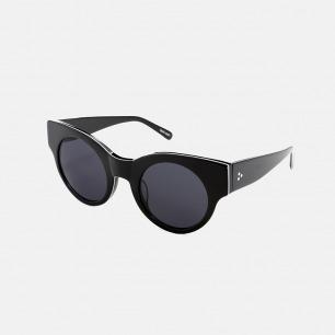 复古摩登宽边太阳眼镜   黑色夹白线色 时尚百搭