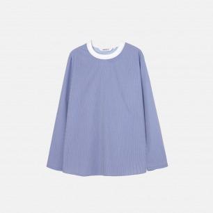 松紧梭织套头衫 天蓝数码印条纹 17A-25B99