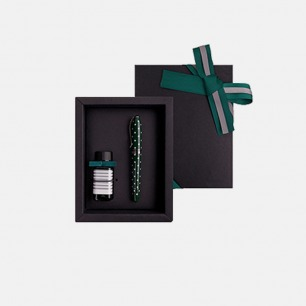 安迪钢笔墨水礼盒 森绿圆点 | 高品质钢笔 小瓶墨水套装