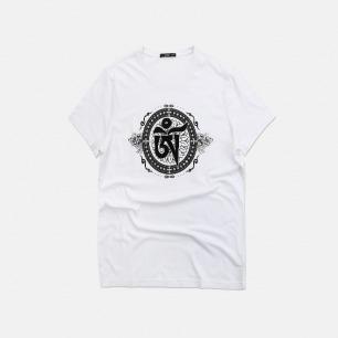 六字真言男款T恤 | 藏族传统纹饰理念【两色可选】