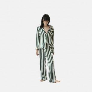 天然桑蚕丝条纹睡衣套装 | 白绿套装均搭配 眼罩和收纳袋