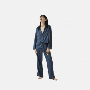 蓝绿条纹西装睡衣套装 | 套装均搭配 眼罩和收纳袋