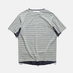 蝙蝠造型面料拼接条纹T恤 | 17S/S FABRICS MIX BORDER CUT TEE