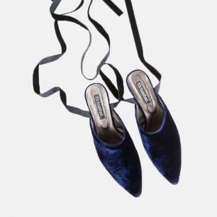 深海#丝绒绑带穆勒鞋    定制12个工作日内发货