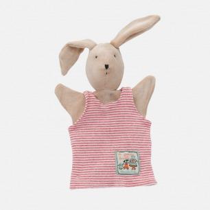 粉色背心小兔子手偶   法国设计师原创玩具