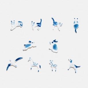 青花系列 | 釉下彩手绘动物陶瓷胸针