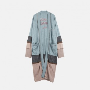 睡衣型条纹男款长开衫 | 居家睡衣风格【情侣款】
