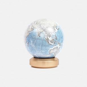 金属底座地球仪-英文版  | 极简造型 现代家居艺术性摆件-冰川蓝