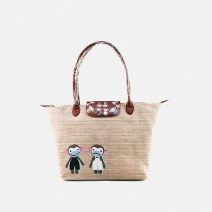 猴子印花米色手提包 | 经典猴子印花 一包两背