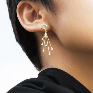 引南北极指引星系列耳坠 | 18K黄金+海蓝宝石 2款