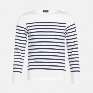 圆领半条纹白底深蓝条长袖T恤-男女同款 | 条纹衫鼻祖 众多明星同款