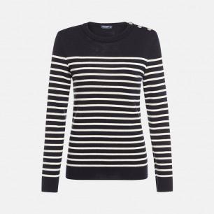 圆领半条纹深蓝底奶白条长袖100%羊毛衫-女士 | 条纹衫鼻祖 众多明星同款