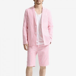 未标题原创设计 男士休闲条纹西服两件套装