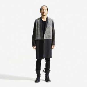 未标题原创设计 男士中长款拼接薄款大衣(深灰拼浅灰)