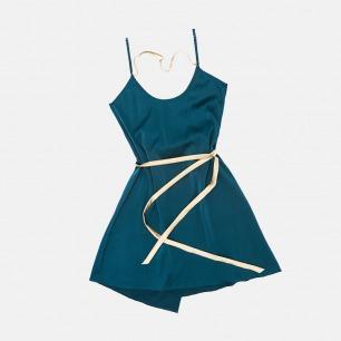 Red Velvet系列 孔雀青拼香槟真丝系带优雅一片式睡裙 | 高贵神秘的孔雀青色