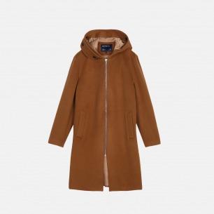 羊毛加绒带帽拉链中长款大衣 | 男装设计品牌【两色可选】