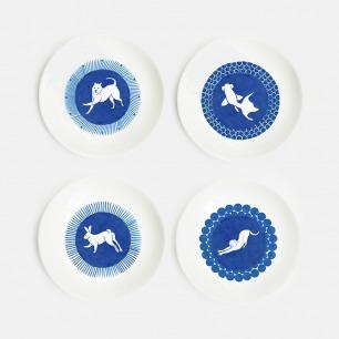 白纹奶油盘套组 | 手工瓷绘 生动造型