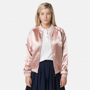 活力满满的少女粉运动夹克   豪华缎面 精致刺绣 彰显朝气
