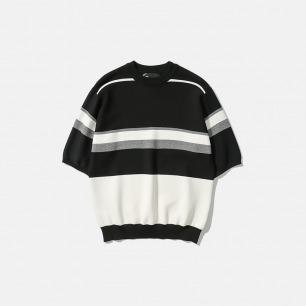 色块编织半袖针织衫T恤   新款Maze系列 新卫设计