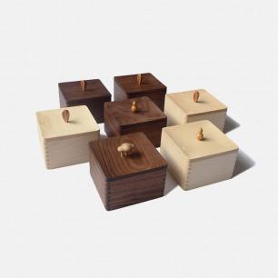 山舍榫卯结构原木收纳盒 | 方形盒子配可爱把手