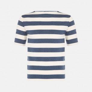 一字领全棉短袖 白底靛蓝条纹 | 男女同款 质地轻薄