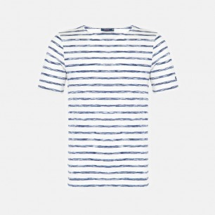 圆领全棉短袖 白底渐变蓝条纹 | 衣橱必备单品 明星同款