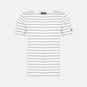 圆领全棉短袖 白底灰色条纹 | 衣橱必备单品 明星同款