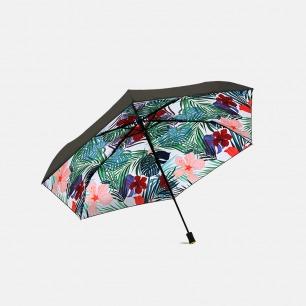 三折黑胶 晴雨两用伞 | 夏威夷风情印花  UPF50+