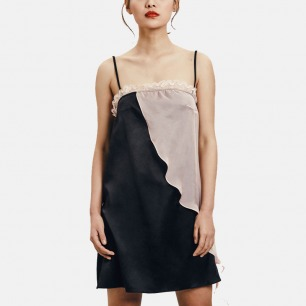 吊带睡裙 黑真丝拼接裸粉 | 低调的高级感 颜色温柔