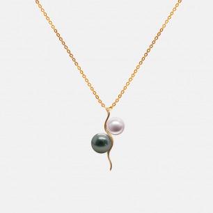 黑白珍珠18K金项链 | 大溪地黑珍珠搭日本珍珠