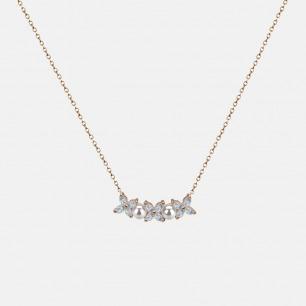 四叶草珍珠锆石镀金项链 | 镶有天然锆石及迷你珍珠