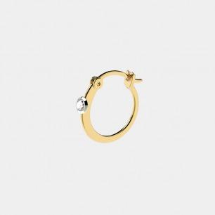 18k金 贝利珠钻石耳环单只   明星同款单品 轻奢时尚